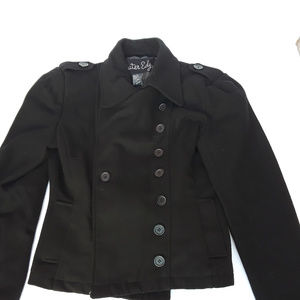 Outer Edge black double breasted overcoat